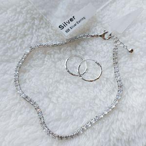💝 NEW sterling silver CZ Tennis bracelet with hoop earrings for Sale in Pompano Beach, FL