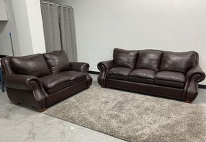 Beautiful set of Couches is 100% Leather brown purple ish for Sale in Haltom City, TX