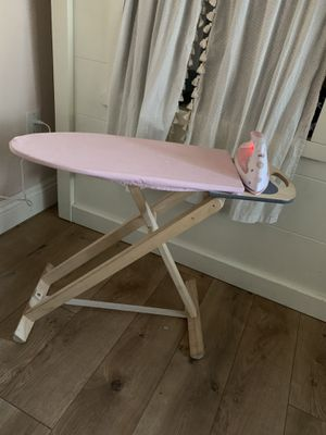 Pottery barn iron and iron table with pink cover for Sale in Upland, CA