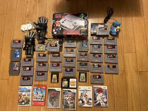 Lot of 36 plus Super Nintendo Wii and Console in box POWER Gloves Games and more for Sale in Glendale, CA