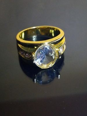 Men's wedding Band yellow gold Finished over silver engagement ring size 9.0 for Sale in Beloit, WI