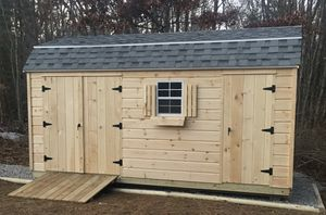 New 10' x 16' Pine Gambrel Shed with Gray Roof Shingles for Sale in Rehoboth, MA