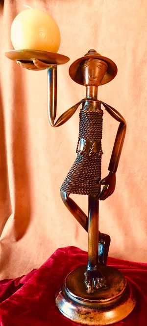 Metal iron sculpture candle holder H27xW11xD6 inch Lbs 3.8 for Sale in Chandler, AZ