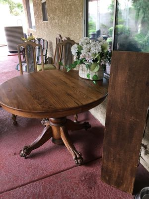 Oak Pedestal Table ~Vintage with claw feet on rollers for Sale in Henderson, NV
