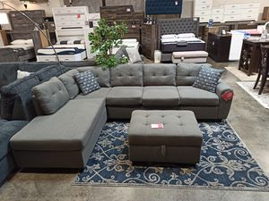 Fabric Sectional Sofa with Ottoman, Grey for Sale in Norwalk, CA