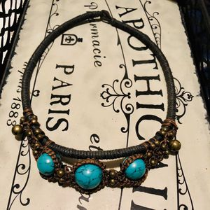 BEADED TURQUOISE CHOKER BRONZE BELLS BOLD AND TRANQUIL TIBETAN NECKLACE for Sale in Las Vegas, NV
