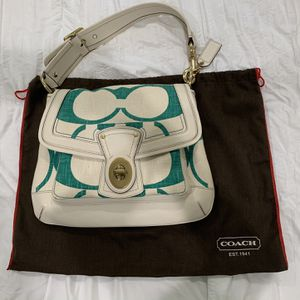 Authentic Coach Slim Ali Shoulder Bag / Purse (Cream & Teal) + Dust Bag for Sale in Placentia, CA