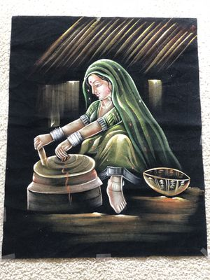Traditional oil painting of Indian village girl for Sale in Lynchburg, VA