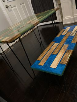 Epoxy resin set coffee table with bench for Sale in Oak Lawn,  IL