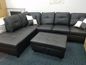 $106 per 2 weeks no credit needed 3 months no interest black faux leather sectional storage ottoman pillows for Sale in College Park, MD