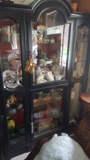 Antique china cabinet- professionally restored in red and black paint for Sale in Tacoma, WA