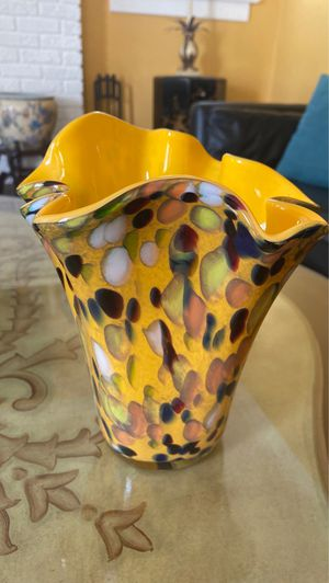 Murano style yellow 9 inch tall glass vases with green white and black pattern on the outside for Sale in West Palm Beach, FL
