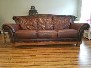 Great buy leather couch for Sale in Raleigh, NC
