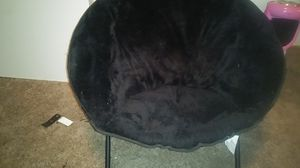 Fluffy black foldable moon chair for Sale in Tacoma, WA