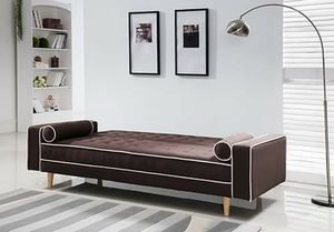 BROWN Tufted Linen Fabric Futon Sofa Bed with White Lining and Pillows for Sale in Highland, CA