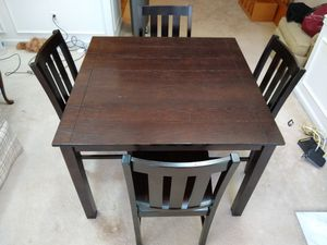"""Dark brown dining room table and chairs 42""""x42"""" for Sale in Reston, VA"""