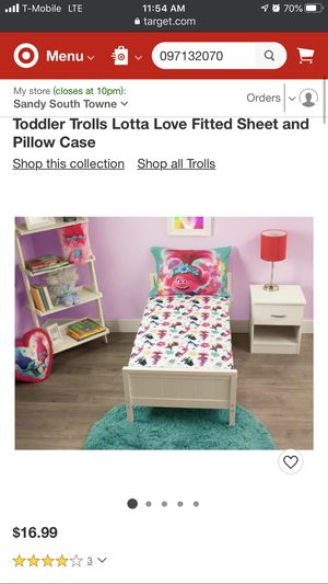 Toddler Trolls Lotta Love Fitted Sheet and Pillow Case for Sale in Garden Grove, CA