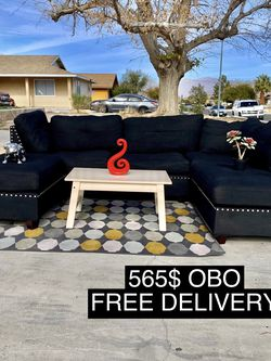 Perfect Condition Black Sectional Sofa And Otto Man for Sale in Las Vegas,  NV