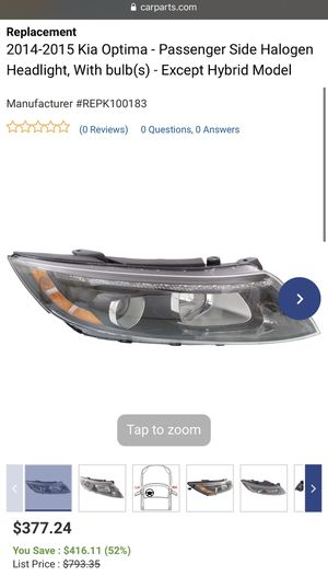 2014-2015 Kia Optima 🚙 Passenger Side Headlight with Bulbs 💡 for Sale in El Segundo, CA