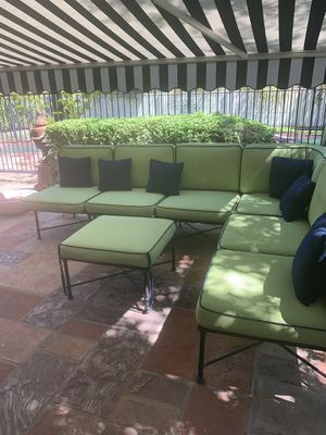 Pottery Barn Potrero outdoor iron furniture with custom cushions - huge set for Sale in Scottsdale, AZ