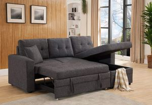 Linen Fabric Sectional Sofa with Reversible Chaise Storage and Pull Out Bed / SILLON SECCIONAL CAMA for Sale in Temecula, CA