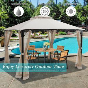 12' x 10'Outdoor Double Top Patio Gazebo in Beige Outdoor Use for Sale in Henderson, NV