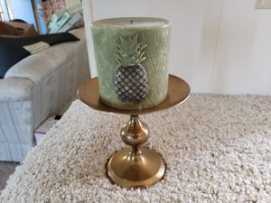 Brass candle holder with candle for Sale in Tualatin, OR