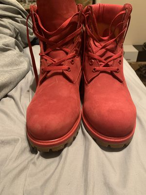 Custom made red Timberlands size 11.5 for Sale in Shrewsbury, NJ