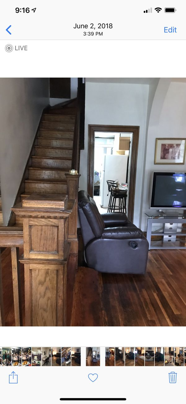Gently used brown reclining leather couches and recliner chair
