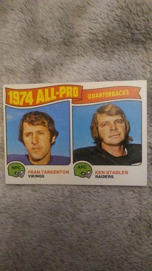 Oakland Raider Ken Stabler & Minnesota Viking Fran Tarkenton 1974 All-Pro Card Great Condition for Sale in San Leandro, CA