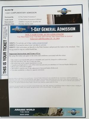 Universal Studios tour ticket for Sale in Long Beach, CA