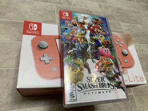 Nintendo Switch Coral + Super Smash Brothers for Sale in Kent, WA
