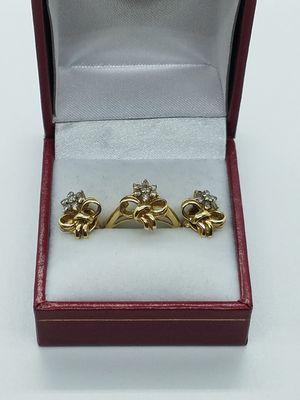 14k gold diamond earrings and ring for Sale in Glendale, AZ