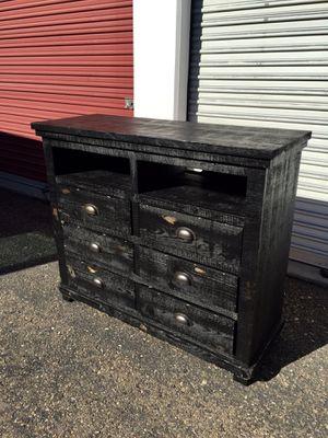 Rustic Distressed black Solid wood 6 drawer dresser/ media dresser retail $510 for Sale in San Diego, CA