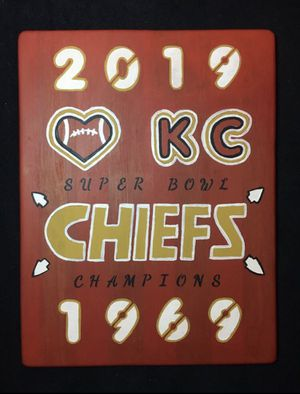 """20""""X 14"""" Hand Painted Wooden Chiefs Super Bowl Champions Plaque with Hanger on Back for Sale in Raymore, MO"""