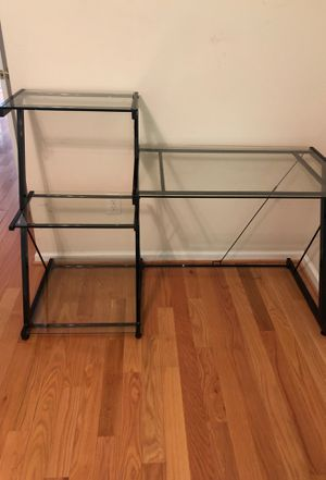 Desk- metal and glass. With three tier shelves on left for Sale in Greenville, SC