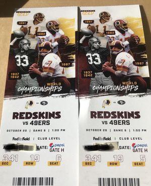 Redskins vs 49er's Sunday 1:00 for Sale in Alexandria, VA