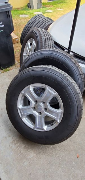 Jeep wrangler wheel and tires for sale for Sale in La Puente, CA