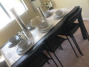 IKEA BJURSTA DINING TABLE, BENCH AND 6 ADDE BLACK CHAIRS for Sale in San Diego, CA