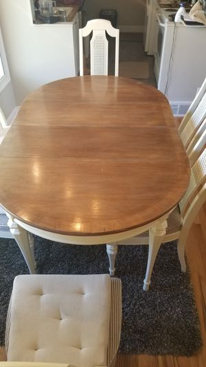 Kitchen Table - 6 Chairs, 2 Leafs, White & Brown - Wood for Sale in Bountiful, UT