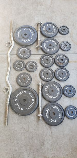 Ez curl bar dumbbells and weights for Sale in Huntington Beach, CA