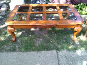 Antique 8 glass crow foot wood coffee table for Sale in Lincoln Park, MI