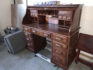 Antique vintage roll up office desk drawer recent stained with key furniture for Sale in Phoenix, AZ