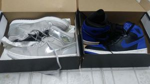 Air jordans silver @ gray & blue royal for Sale in Cicero, IL