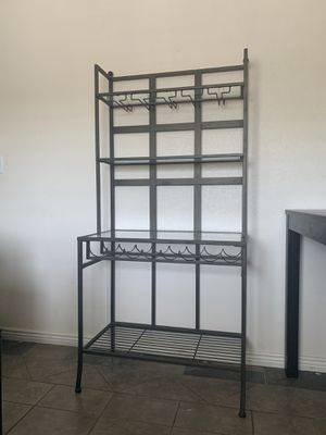 Metal Baker's Rack with Wine Glass and Bottle Storage for Sale in Avondale, AZ