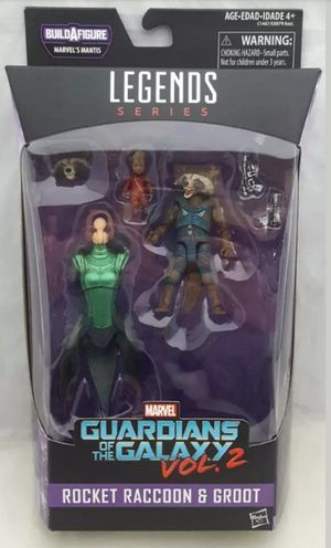 Marvel Legends Guardians of the Galaxy Vol 2 Rocket Raccoon & Groot Collectible Action Figure Toy with Mantis Build a Figure Piece for Sale in Chicago, IL
