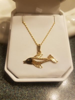 14k fish charm and chain for Sale in Gaston, SC
