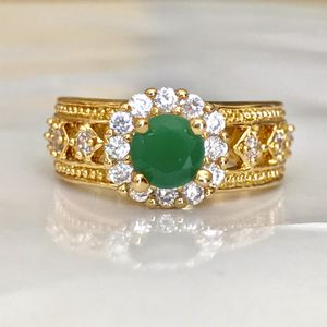 18k gold plated emerald ring lab created women's jewelry accessory fashion ring for Sale in Silver Spring, MD