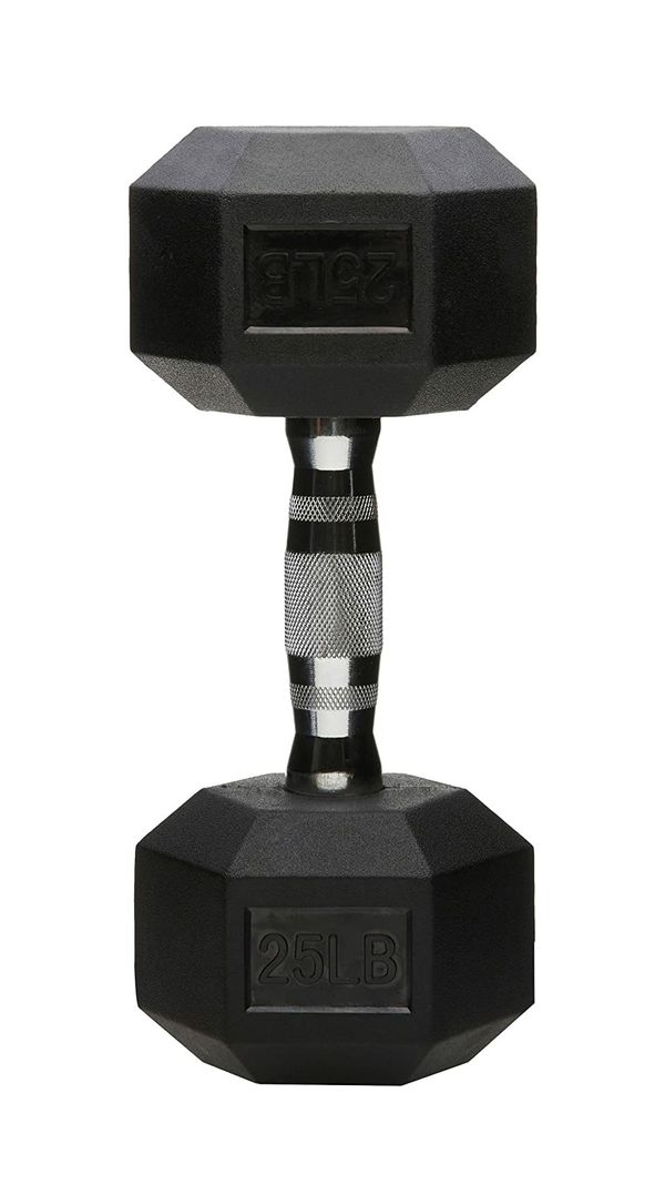 BRAND NEW - 2 X 25LBS - Rubber Encased Hex Hand Dumbbell Weight
