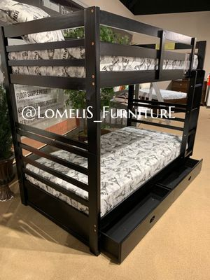 TWIN/TWIN BUNK BEDS W ORTHOPEDIC MATTRESS INCLUDED for Sale in Riverside, CA